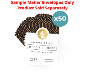 10xPURE™-GOLD Coffee CBDa Sample Mailers - 50 Count